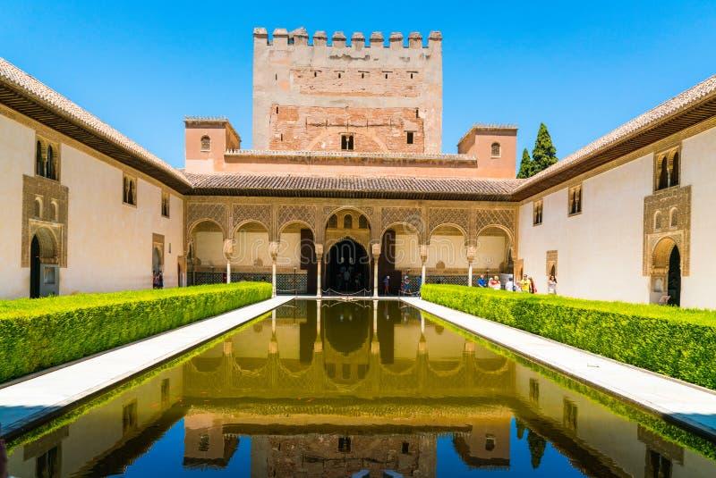 Turisti che visitano la vecchia città di La Alhambra vicino a Granada fotografia stock libera da diritti