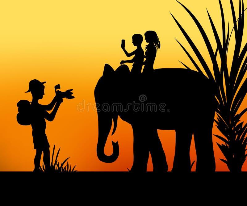 Turisti e l'elefante royalty illustrazione gratis
