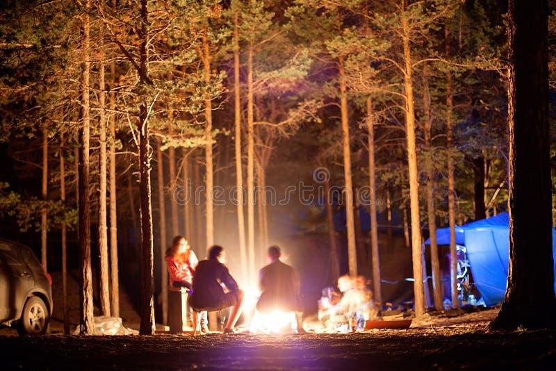 Turisti intorno al fuoco di accampamento alla notte fotografie stock libere da diritti