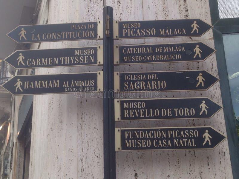 Turistic签到马拉加(西班牙) 免版税库存照片