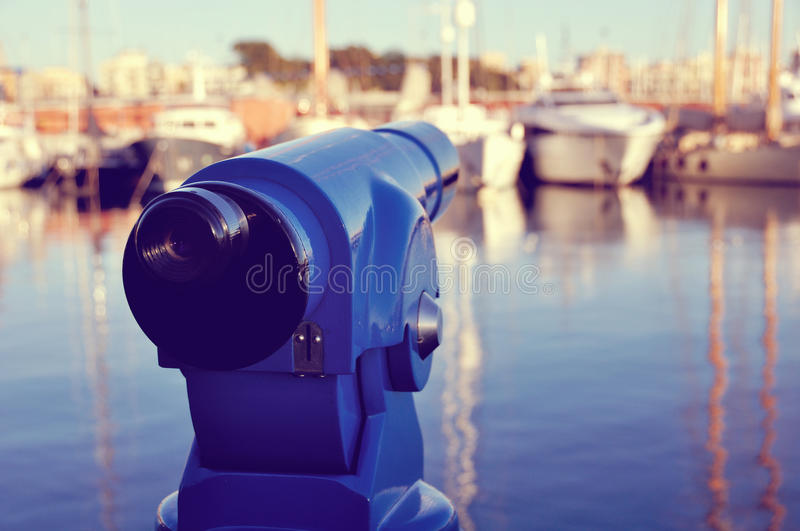 Turistic Telescope at the Barcelona Port royalty free stock images