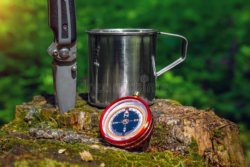 Turistst?lkopp och kompass i sommarskogen arkivbild