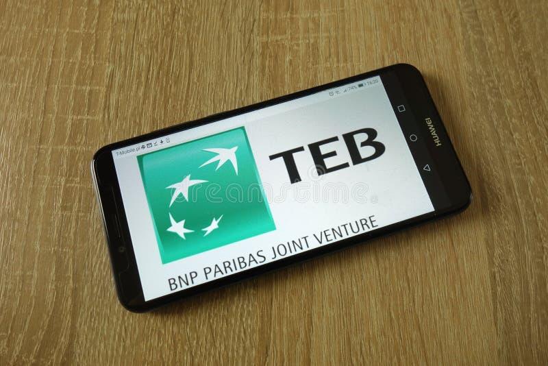 Turk Ekonomi Bankasi A S logotipo indicado no smartphone fotos de stock