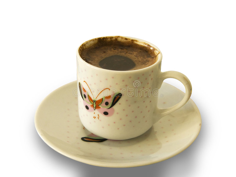 turk för modell för fjärilskaffekopp foamy royaltyfri foto