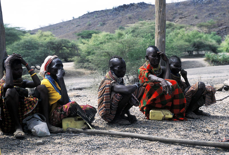 Turkana old women. The women and children of the Turkana tribe Kenya. The Turkana are a Nilotic people of Kenya, numbering about 340,000. They inhabit the stock image