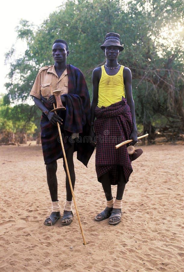 Turkana shepherds. Two shepherds of the Turkana tribe Kenya. The Turkana are a Nilotic people of Kenya, numbering about 340,000. They inhabit the Turkana stock photography