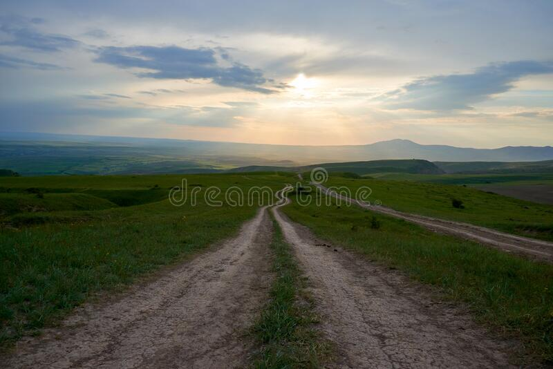 Hills in the foothills in the spring landscape. Turkestan region. Kazakhstan. Asia. stock photography