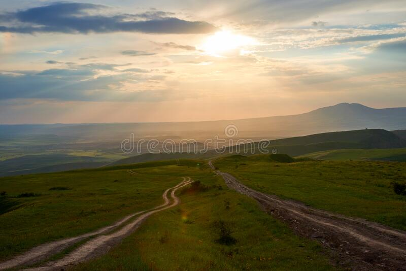 Hills in the foothills in the spring landscape. Turkestan region. Kazakhstan. Asia. royalty free stock photography