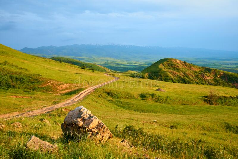 Hills in the foothills in the spring landscape. Turkestan region. Kazakhstan. Asia. royalty free stock photos