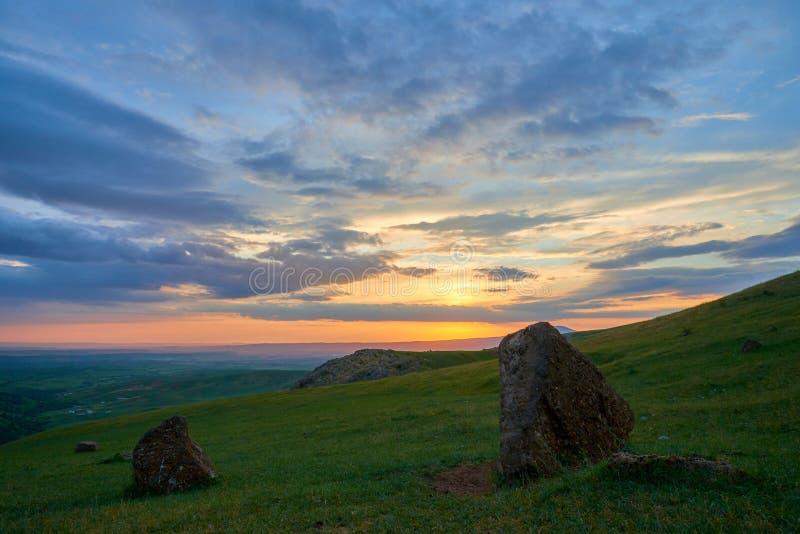 Nature Landscape of Turkestan region. Kazakhstan. On the Sunset. royalty free stock images