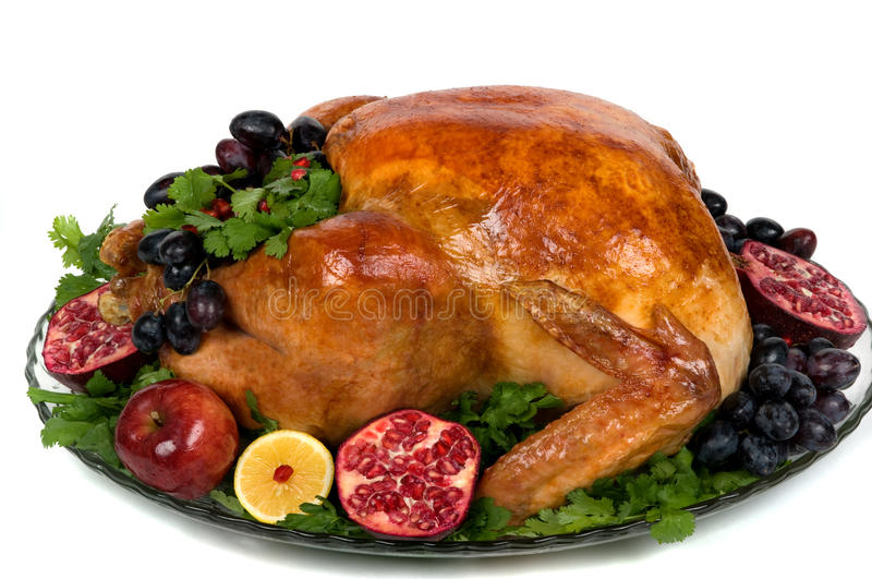 Turkey. Beautifully decorated golden roasted turkey for Christmas or Thanksgiving stock photo