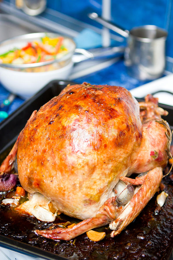 Turkey. Roasted in a pan stock photography