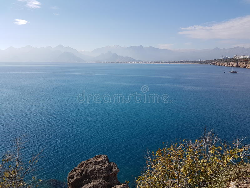 Turkey antalya analya holiday fun relax nature relax sea beach wood door history castle trees blue green stock images
