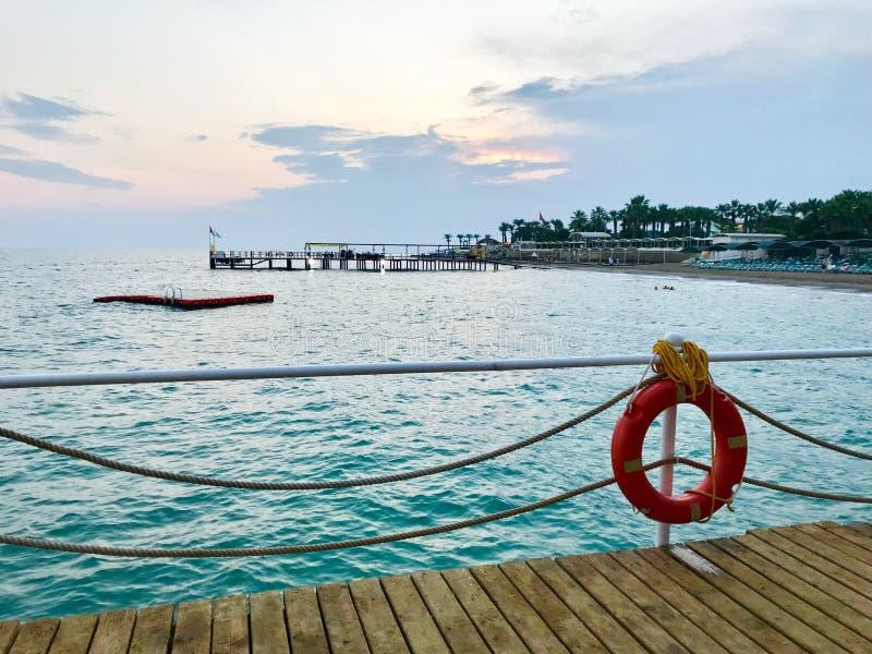 Turkey. Antalya. Mediterranean sea. Sunset. View on the beach royalty free stock image