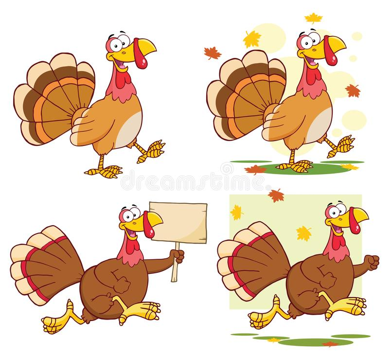 Free Turkey Bird Classic Cartoon Mascot Character Set 1. Collection Royalty Free Stock Photography - 121961467