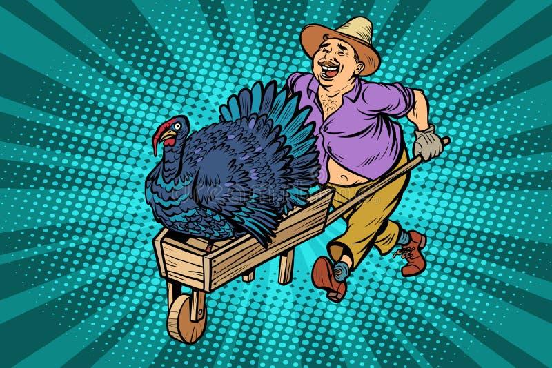 Turkey bird, thanksgiving day holiday. farmer, man with a wooden stock illustration