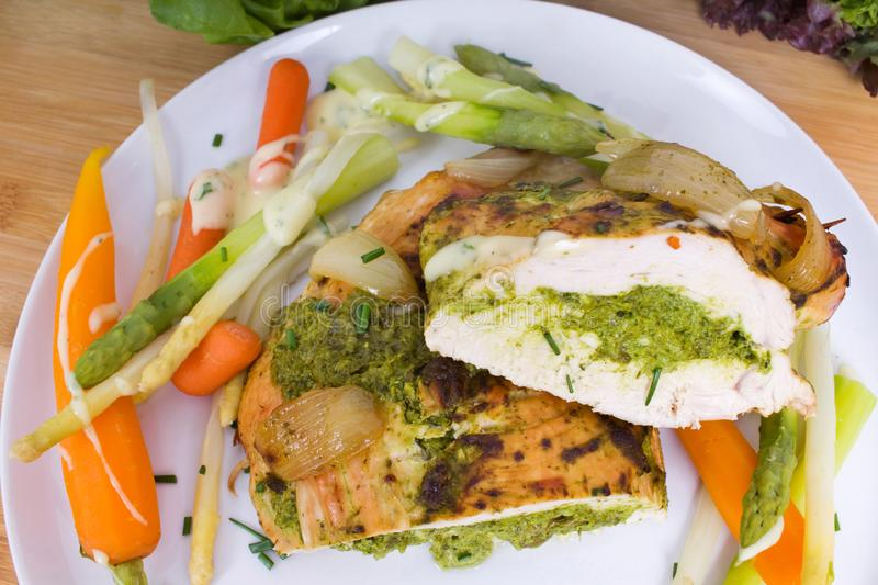 Turkey breast with herb-bear`s garlic filling royalty free stock image