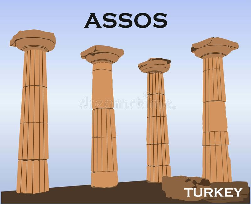 Turkey, Canakkale Assos ancient city and Athena Temple in Behramkale, Ayvacik. Ariston`s philosophy school,  port city. Assos  also known as Behramkale or for vector illustration