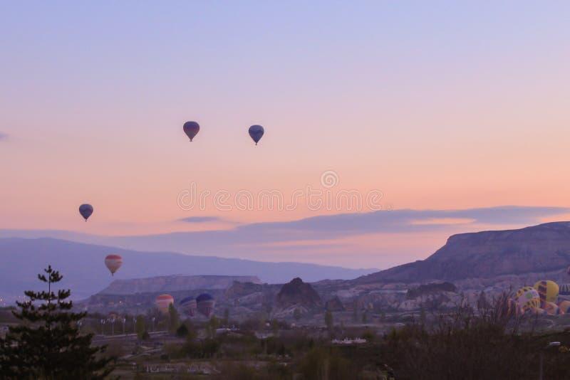 Turkey. Cappadocia. Morning. Sunrise. Balloons stock photo