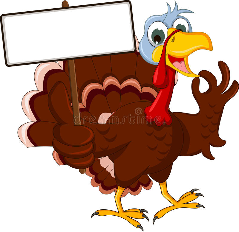 Turkey cartoon posing with blank sign. Illustration of funny turkey cartoon posing with blank sign royalty free illustration