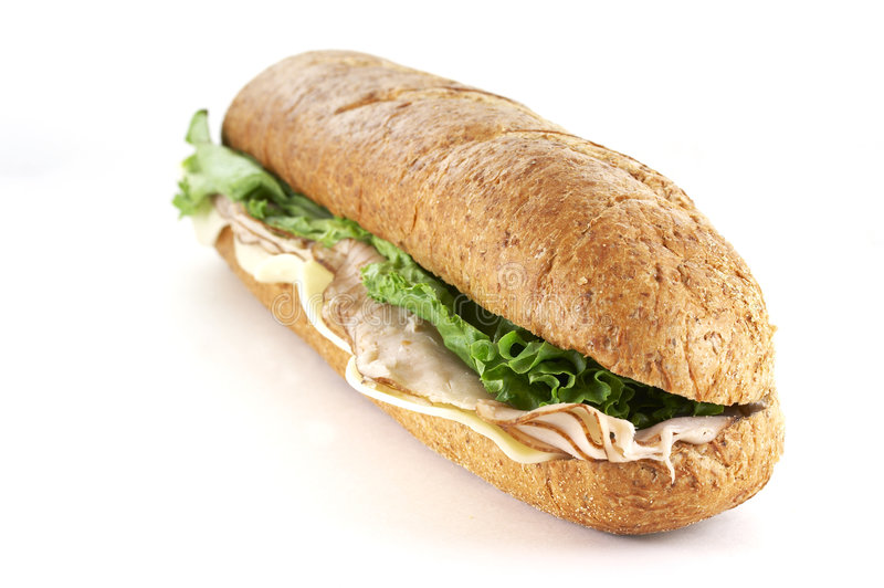 Turkey and cheese sub. Sandwich close up royalty free stock image