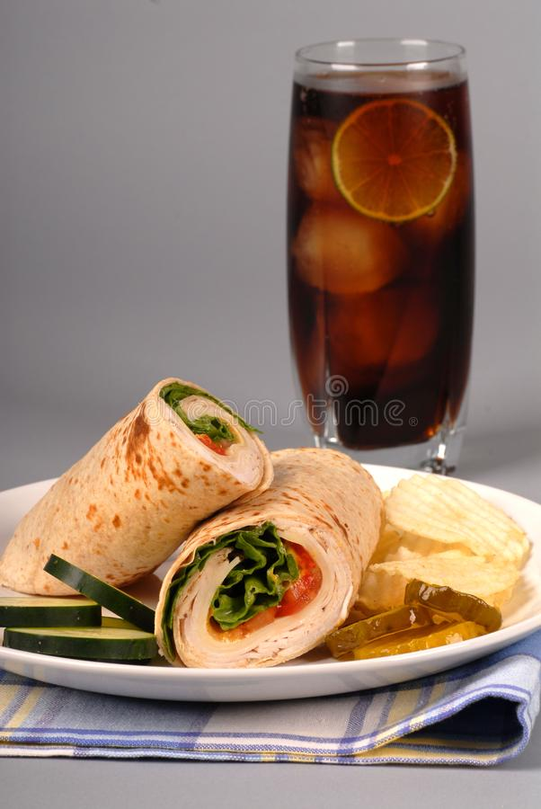 Turkey and cheese wrap royalty free stock image