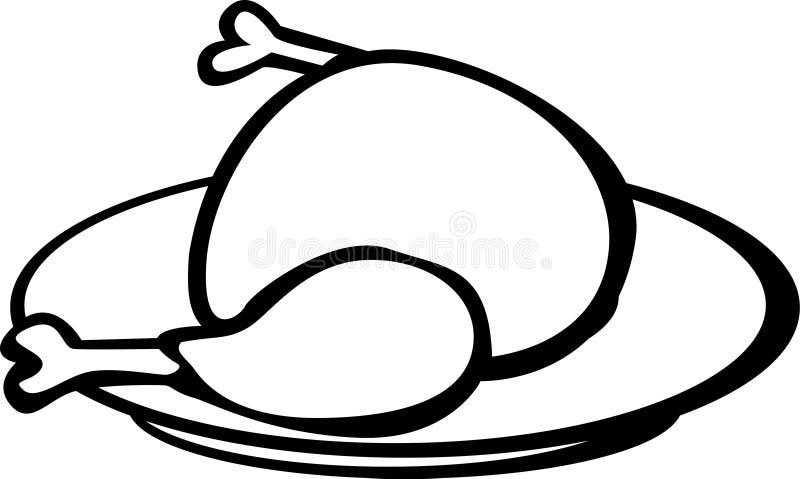 Turkey or chicken in a dish vector illustration stock illustration