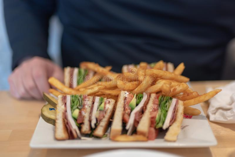 Turkey club with fries stock photos