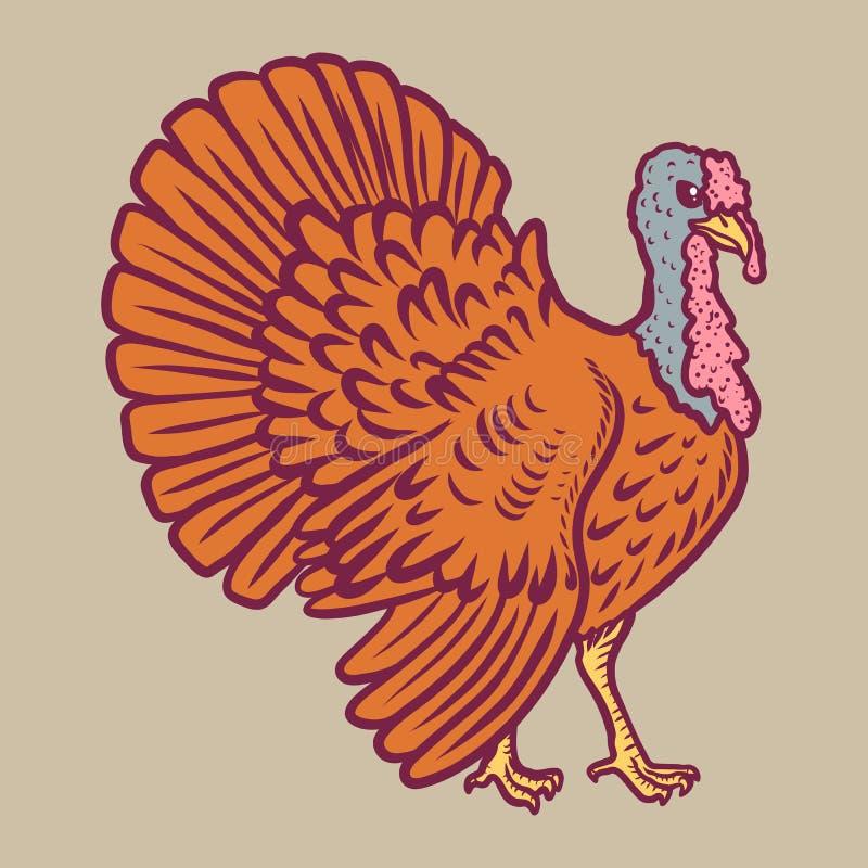 Turkey icon, hand drawn style royalty free illustration