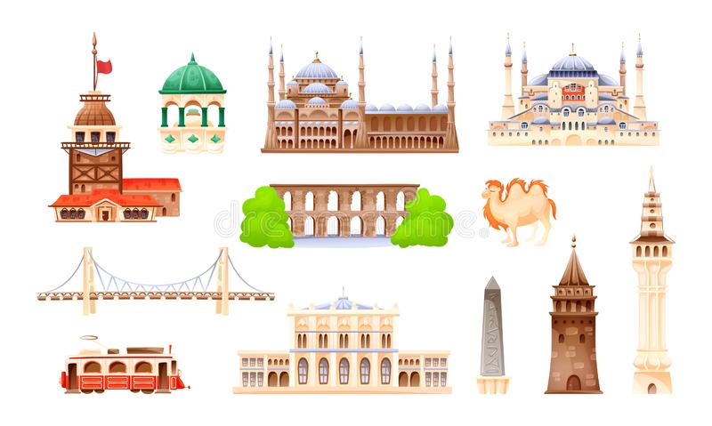 Turkey country buildings landmarks. Travel concept for Asi. Turkey country buildings landmarks. Turkey vacation landmarks buildings, towers, transport, city stock illustration
