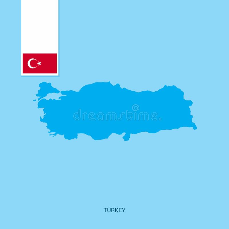 Turkey Country Map with Flag over Blue background vector illustration