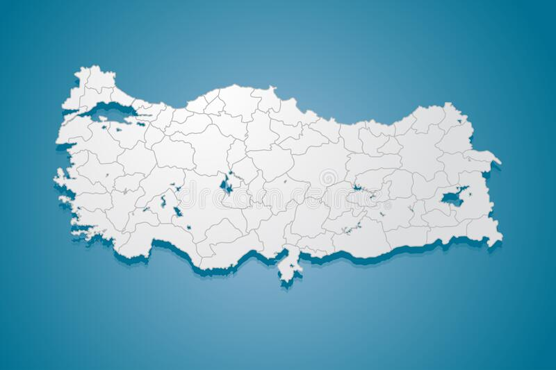 Turkey Country Map Banner Outline Vector Template Stock ...