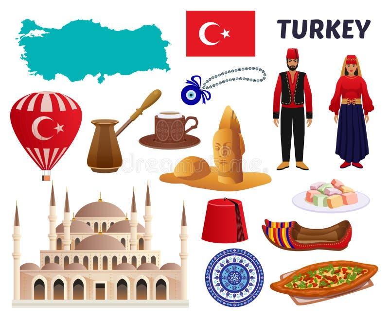 Turkey Culture Travel Set vector illustration