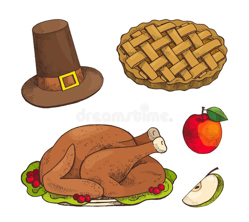 Turkey Dish and Baked Pie with Apple Set Vector. Turkey dish and baked sweet pie with apple set of isolated icons vector. Cake with decoration and hat with belt royalty free illustration