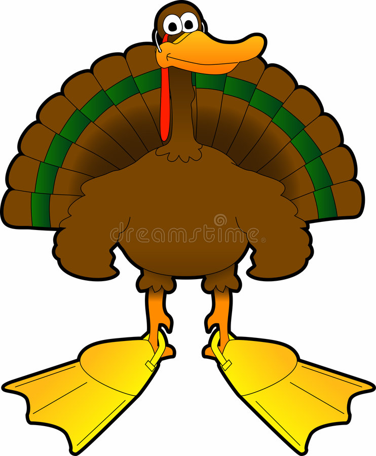 Turkey_duck. Raster cartoon graphic depicting a disguised Thanksgiving Day turkey stock illustration