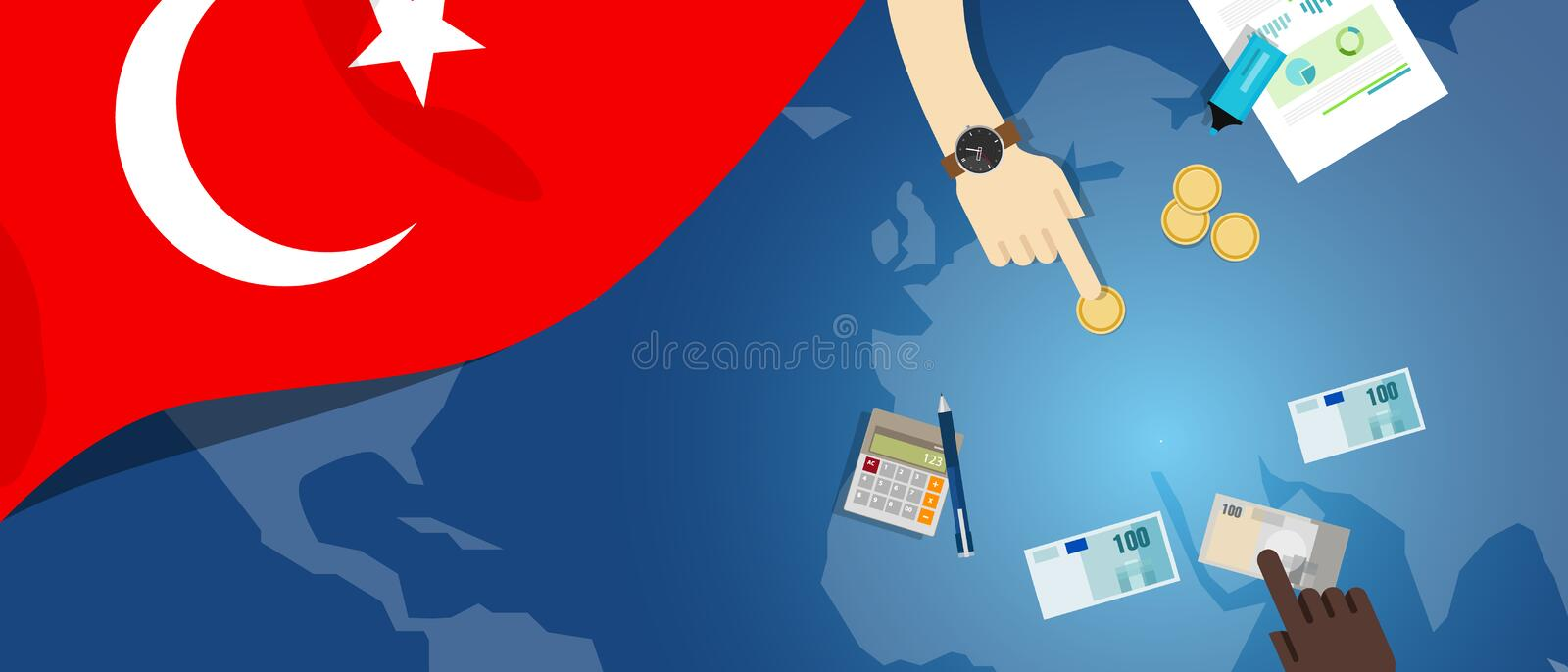 Turkey economy fiscal money trade concept illustration of financial banking budget with flag map and currency. Vector royalty free illustration