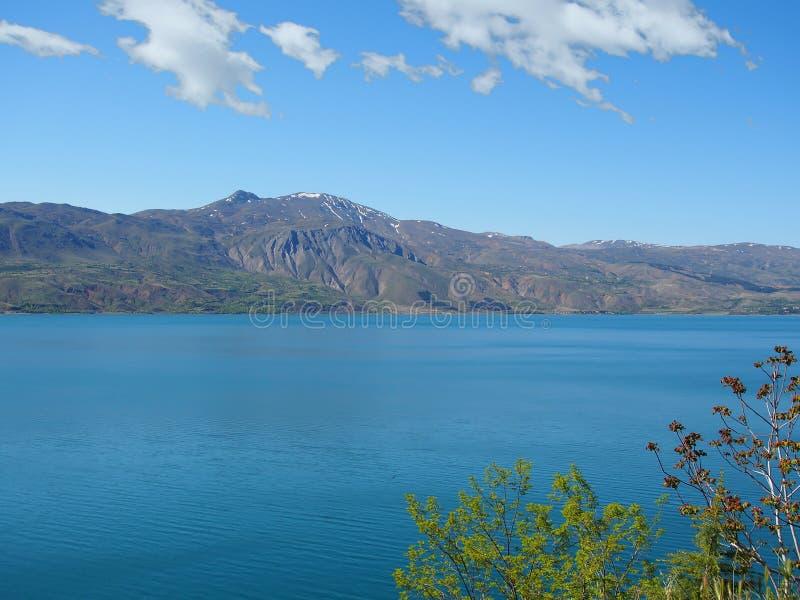 Turkey, Elazig Hazar lake and mountain landscape. In blue suny clear day royalty free stock photo