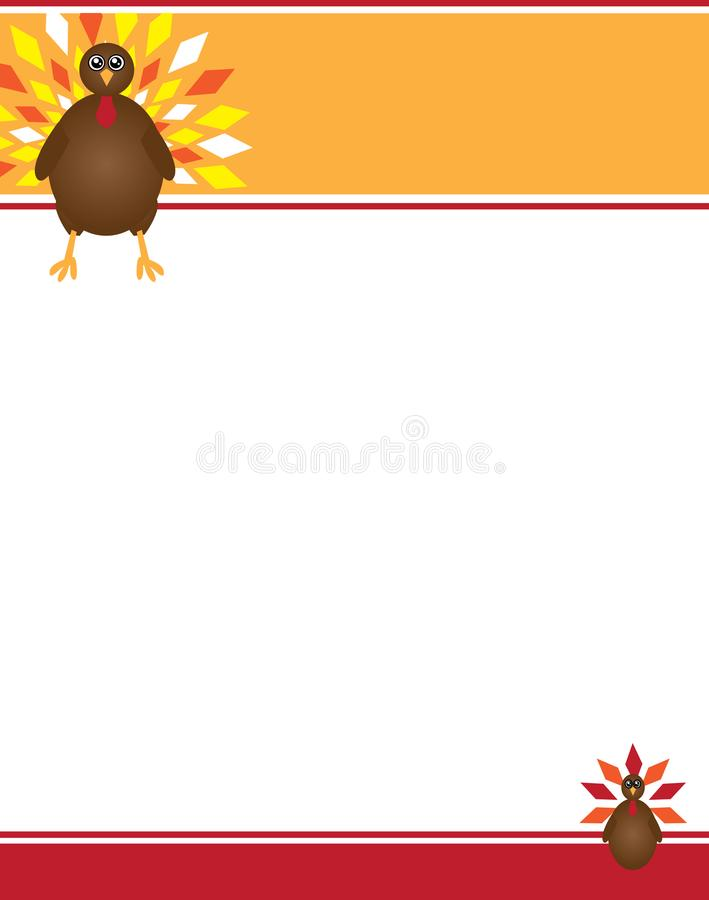 Turkey with Fall and Autumn Colors Border. Turkey with Fall and Autumn Colors for Thanksgiving, November, Flyers, Invitations, Posters vector illustration