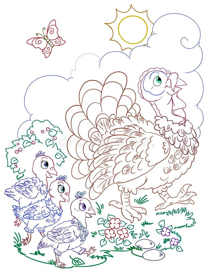 Line art of the big turkey with three tyrkey chickens stock images