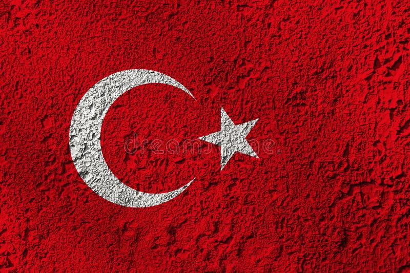 Turkey flag on the background texture. Concept for designer solutions.  stock photography