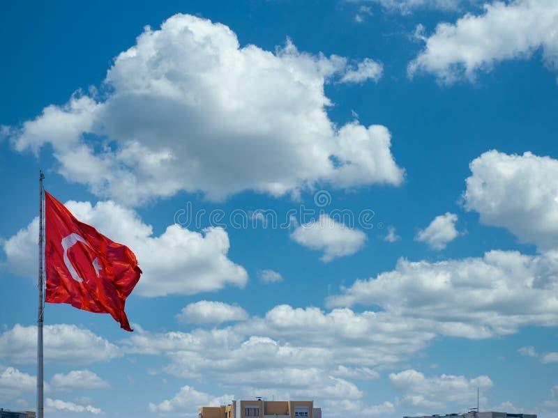 Turkey flag with clouds background. Turkey flag with beautiful clouds background royalty free stock photos