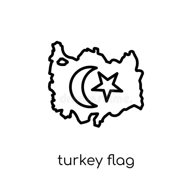 Turkey flag icon. Trendy modern flat linear vector Turkey flag i stock illustration