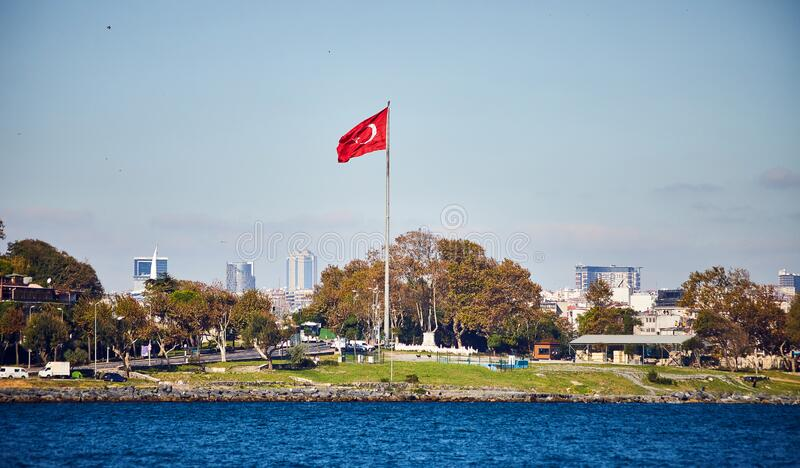 Turkey flag and Istanbul view - travel background royalty free stock photography