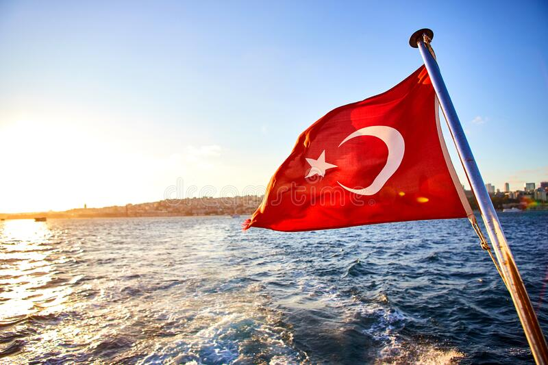 Turkey flag and Istanbul view - travel background royalty free stock images