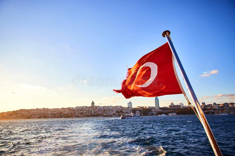 Turkey flag and Istanbul view - travel background stock photography