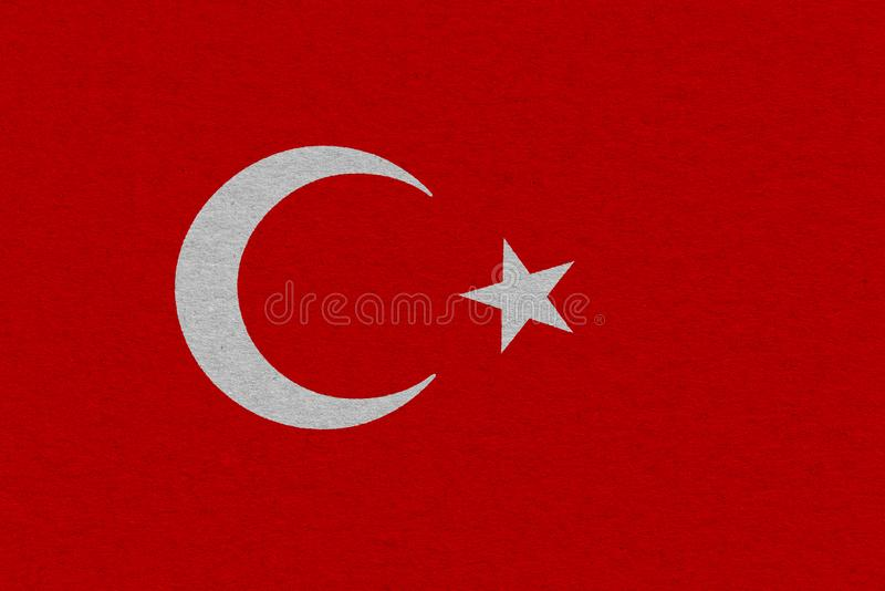 Turkey flag painted on paper. Patriotic background. National flag of Turkey stock photography