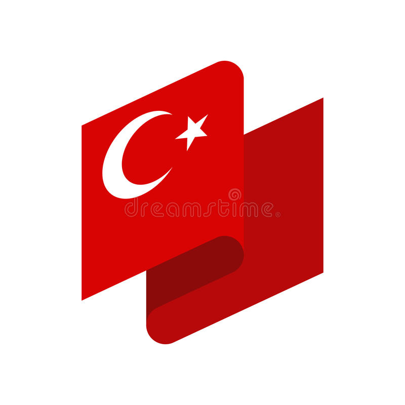 Turkey flag ribbon isolated. Turkish tape banner. National symbol of countrys public stock illustration