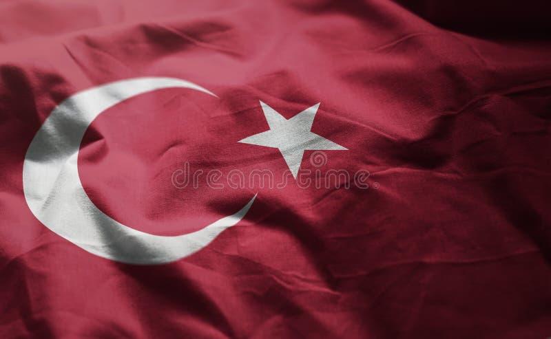 Turkey Flag Rumpled Close Up.  stock image