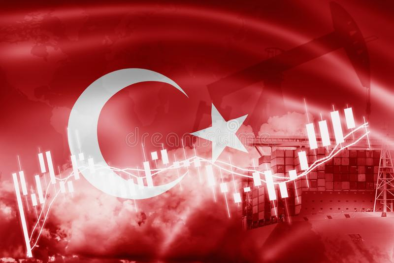 Turkey flag, stock market, exchange economy and Trade, oil production, container ship in export and import business and logistics royalty free illustration