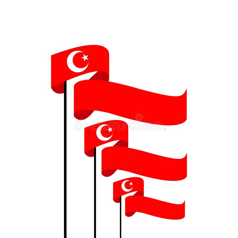 Turkey Flag Vector Template Design Illustration. Turkey, flag, vector, icon, background, illustration, color, symbol, europe, country, national, international royalty free illustration